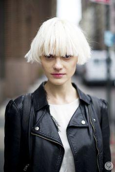 short hair. platinum blonde.