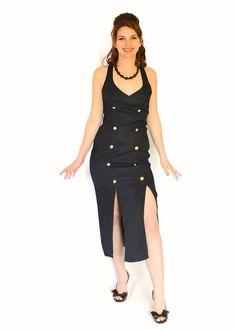 SALE Vintage Dress 80s Black Long Dress Backless by ChickClassique, $42.00