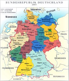 Deutschland's Karte mit Bundesländer und große Städte
