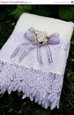 SUMMER SALE Decorative Hand Towel Cream and Lilac Roses with Lilac Trim Lace
