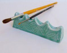 Ceramic Artist Brush/Pen Rest Handmade by PotterybySumiko on Etsy