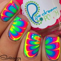 (Yes, i want all the neons in full size) tie dye nails, water marble nails, Bright Nails, Neon Nails, Love Nails, Diy Nails, Pretty Nails, Funky Nails, Ongles Tie Dye, Tie Dye Nails, Nail Art Designs