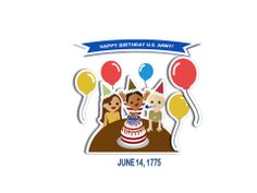 DIY Army Birthday Sticker Activity - Bring the characters from the 'Happy Birthday US Army!' book to life by making your own stickers. Go to www.armymwr.com to download your sticker template. #ArmyBdayBook