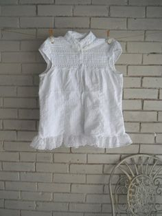 white blouse shabby chic upcycled clothing white top by ShabbyRoad