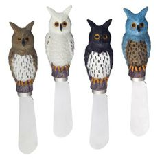 """Owl Spreader Set of 4 by Supreme Housewares. $9.95. Handle: Hand Painted Resin. Care and Clean: Hand wash only. Dimension: 5"""" length. Includes: 4 PC - Owl Spreader. Material: Stainless Steel Blade. With cute and creative design, give the perfect accent to any table. They are perfect for gift baskets or simply for your own personal use! Provide decorative theme and variety to your table. We have so many patterns for you to choose from, come to pick them for home entertaining..."""