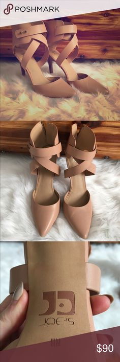 Nude leather strappy heals by joes jeans Only worn once! Beautiful, comfortable nude leather heals with zipper up back. Joe's Jeans Shoes Heels