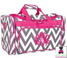 Monogrammed Boxy Duffle - Gray & White Chevron with Hot Pink Trim
