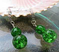 Bright Green Precosia Crackled Czech Glass Dangle Pierced Earrings by StephieGknits, $15.00