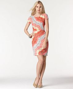 Macys: BCBGMAXAZRIA Dress, Christelle Short Sleeve Printed ($109.99) - what a BEAUTIFUL print/color palette!