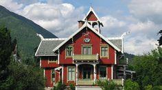 Villa Strandheim in Balestrand, Sogn & Fjordane County, Norway - The building is in Norwegian Dragon style