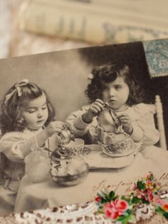 Vintage Postcard....tea time.....