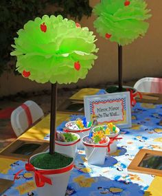 Cute decor at a Snow White birthday party! See more party ideas at CatchMyParty.com!