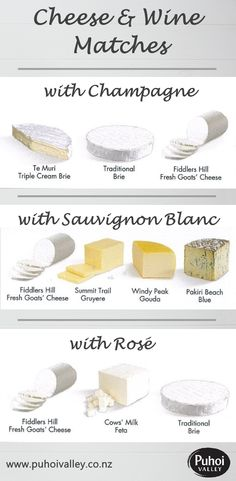 Here's our guide to matching cheese with Champagne, Sauvignon Blanc or Rosé.