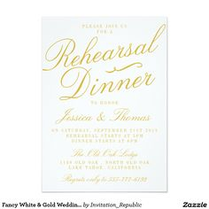 Fancy White & Gold Wedding Rehearsal Dinner