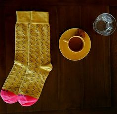 Morning coffee and a bright pair of socks to start the day..