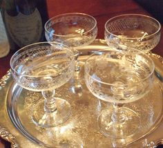 Gorgeous Vintage Etched Crystal Champagne Coupe Glasses - Set of 4 by HouseofLucien, $44.00