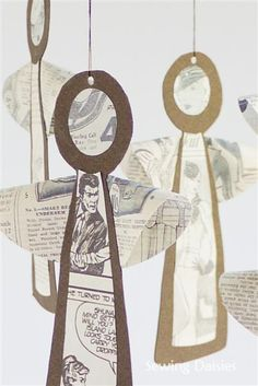 The Newsprint Series: Vintage Angels Julepynt Christmas Decorations Decoraciones de Navidad! This weeks installement of The Newsprint Series wil be nice & quick. Christmas Arts And Crafts, Book Crafts, Christmas Angels, Christmas Projects, All Things Christmas, Simple Christmas, Holiday Crafts, Christmas Holidays, Christmas Decorations