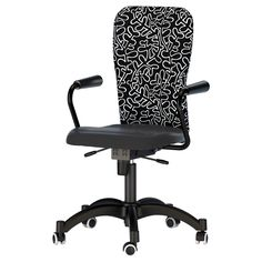 NOMINELL Swivel chair with armrests - black/patterned - IKEA