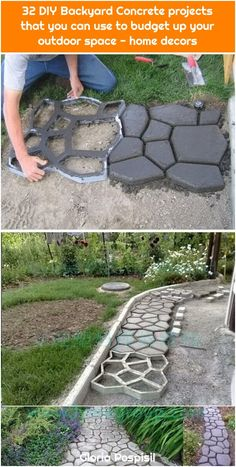 DIY Cobblestone-Look Concrete Pathway. DIY Cobblestone-Look Concrete Pathway. Front Yard Patio, Backyard Walkway, Diy Patio, Backyard Landscaping, Landscaping Ideas, Flagstone Patio, Budget Patio, Patio Table, Paving Ideas