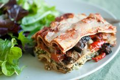 Roasted Vegetable Lasagna: Roasted vegetables gives this vegetarian lasagna so much hearty flavour that you won't even miss the meat! Roasted Vegetable Lasagne, Veggie Lasagna, Roasted Vegetables, Lasagna Noodles, Meat Lasagna, Veggies, Vegetable Dishes, I Love Food, A Food