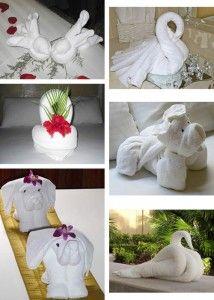 Distintas figuras hechas con toallas