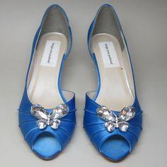 Cornflower Blue Kitten Heels with Rhinestone Butterfly Adornment on Etsy