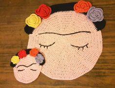 frida kahlo único individual y posa vasos tejido al crochet
