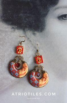 Portugal Antique Azulejo Tile Replica Chandelier Earrings - Cherub with Vintage Micro Mosaic Pendants Princess Joana 1471 - Valentines Day