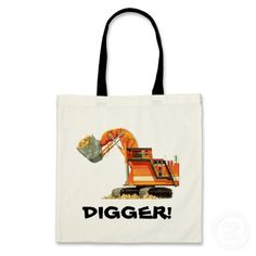Orange Digger Bags  by Paul Stickland for TruckStore on Zazzle