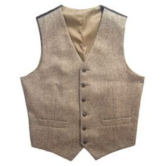 2016 Tweed Vintage Rustic Wedding Vest Brown with Leather Effect Buttons…