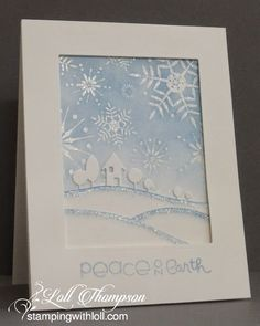 handmade card from Stamping with Loll: Wintery Wonderland ... gorgeous winter scene in powder blue and white ... die cuts and snowflake stamping ... luv the snowflakes fills sky and the sparkling borders on the snowdrif lines ...