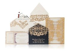 Custom Luxury Invitations- Cutom DieCut Wedding Invitations  -  Custom Lasercut Invitations - Metallic Invitations - InviteCouture