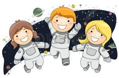 Kids Wearing Space Suits floating in Space Stock Photo