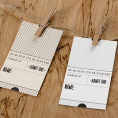 Admit One Ticket Place Card or Invite