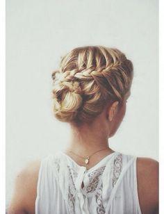 crown braid bun.