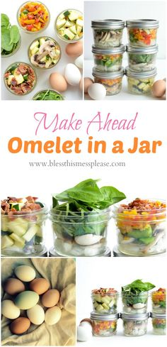 Make Ahead Omelet in a Jar is the easiest ways to eat veggies for breakfast. Prep once, eat healthy all week!