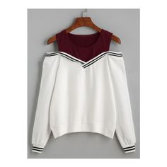 To find out about the Varsity Striped Contrast Open Shoulder Sweatshirt at SHEIN, part of our latest Sweatshirts ready to shop online today! Look Fashion, Teen Fashion, Fashion Clothes, Fashion Outfits, Womens Fashion, Fashion Design, Woman Outfits, Black And White Hoodies, White Tops