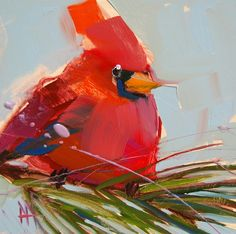 North Carolina Cardinal original bird and pine tree oil painting by Angela Moulton 6 x 6 inch on panel ready to ship July 9 by prattcreekart on Etsy