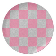 Pink and Gray Checkered Plate
