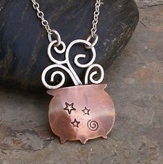 Witches Cauldron Copper and Sterling Silver Artisan Necklace Pendant Whimsical Smoke and Stars