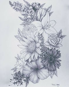 Love this for a tattoo birth flower tattoos, flower sleeve tattoos, floral tattoo sleeves Neue Tattoos, Body Art Tattoos, Drawing Tattoos, Flower Tattoo Drawings, Trendy Tattoos, Tattoos For Guys, Neck Tattoos For Women, Tattoo Sleeves Women, Shoulder Tattoos For Women