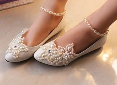 NEED THESE!!!! Grace-Sparkling-Ankle-Straps-Pearls-Wedding-Bridal-Party-Queen-Women-Pumps