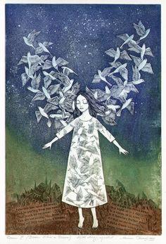 Marina Terauds ~ Dream III (Dream Within a Dream), 2009 (etching, aquatint) Art And Illustration, Angel Art, Whimsical Art, Printmaking, Art Drawings, Artsy, Fine Art, Artwork, Prints