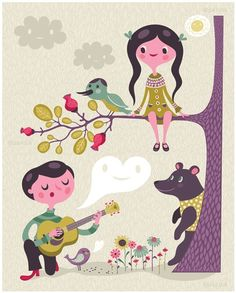 sing to me... limited edition giclee print of an original illustration (8 x 10 in) via Etsy