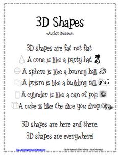 Lil' Country Kindergarten: 3D Shapes Poem {Freebie}. May be for younger kids, but I think it's a great poster for upper elementary math walls, too!