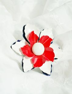 Vintage red white and blue enamel flower by PuddinRidgeCreations