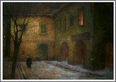 Jakub Schikaneder (1855-1924), Prague à la Nuit.