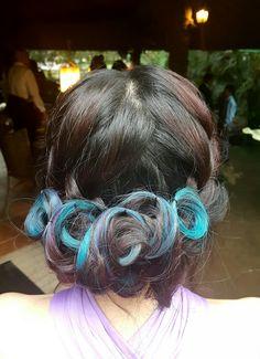 wedding hairstyle on blue highlights / underlights