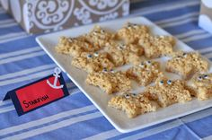 Make Starfishes out of rice crispy treats!  Nautical theme, beach theme, 1st birthday party.