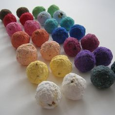 Seed Bombs : 2 styles a bar themed herb ball and a gorgeous wildflower ball
